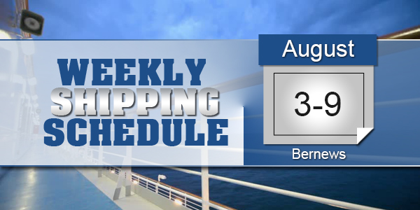Weekly Shipping Schedule TC August 3 - 9 2019