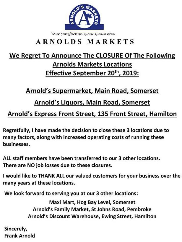 Arnold's Market Bermuda Sept 23 2019