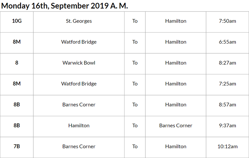 Bus Cancellations Bermuda September 16 2019