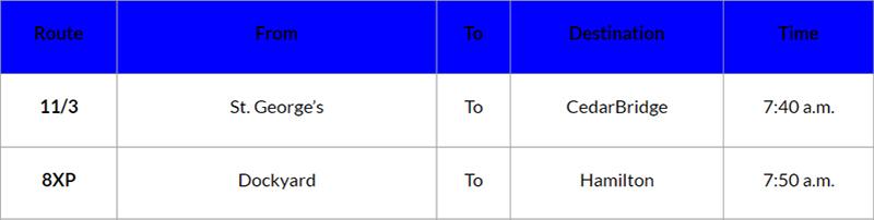 Bus cancellations Bermuda September 11 2019