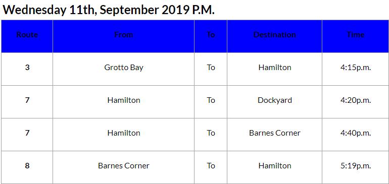 Bus cancellations PM Bermuda September 11 2019