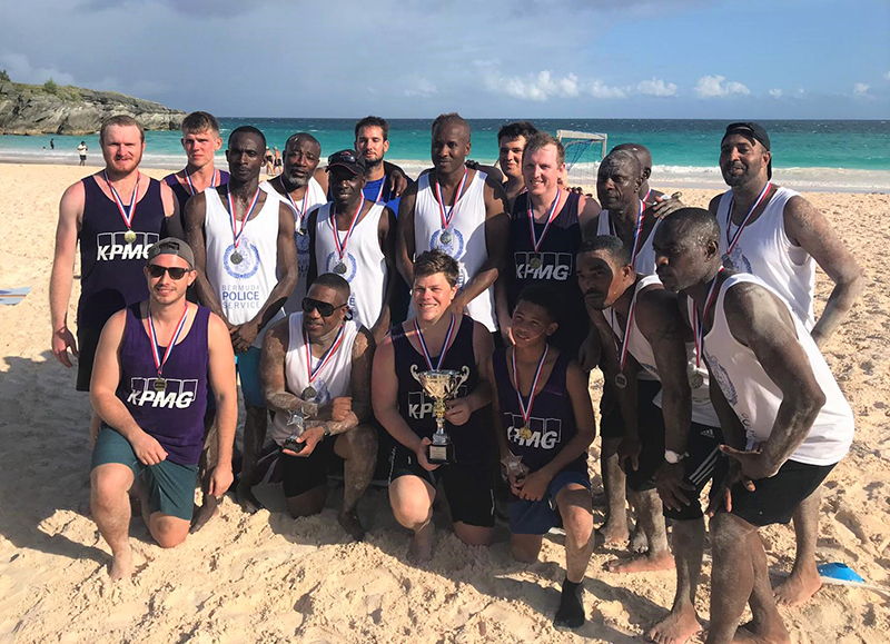 Corporate Beach Soccer Tournament Bermuda September 2019 Finalists KPMG and BPS
