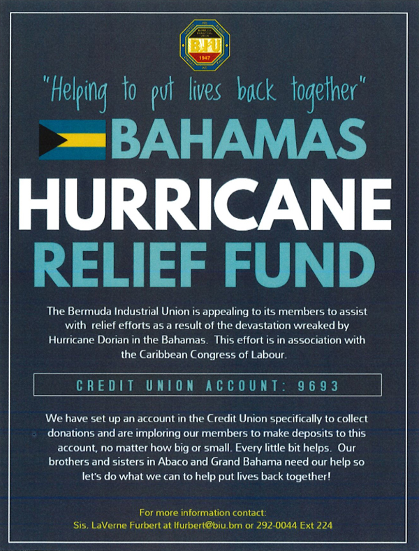 Hurricaine Relief Fund Bermuda Sept 2019