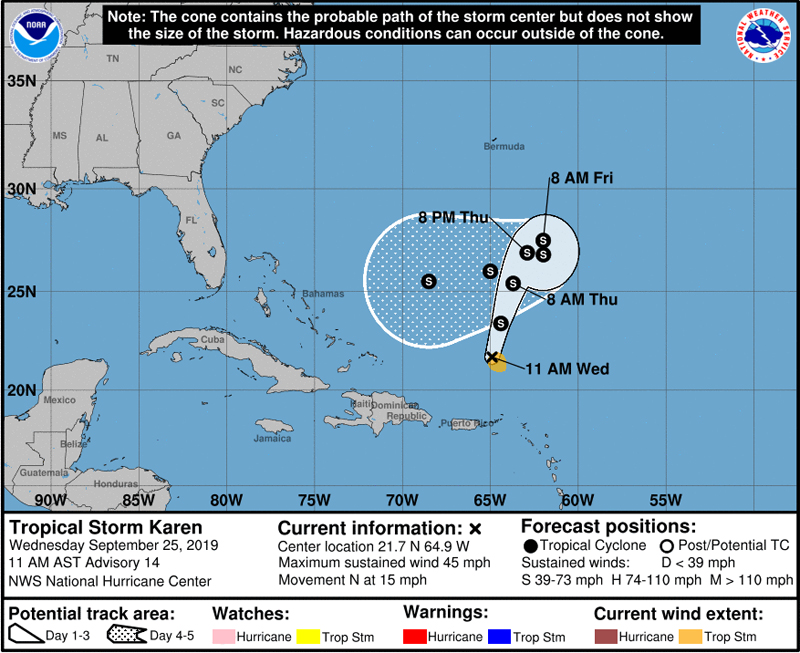 NHC Tropical Storm Karen Bermuda Sept 2019