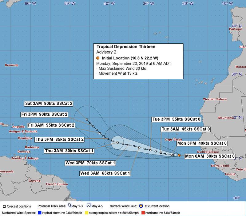 Tropical Depression Thirteen Bermuda September 23 2019 BWS