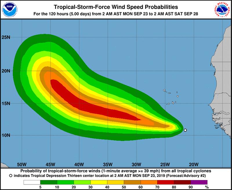 Tropical Depression Thirteen Bermuda September 23 2019  NHC