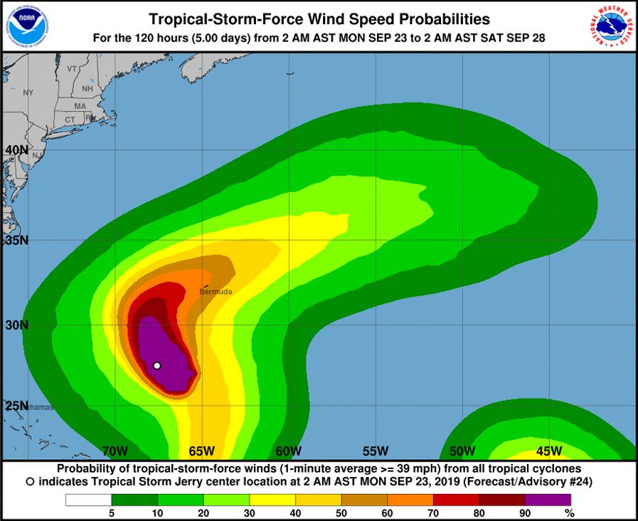 Tropical Storm Jerry Bermuda September 23 2019  NHC
