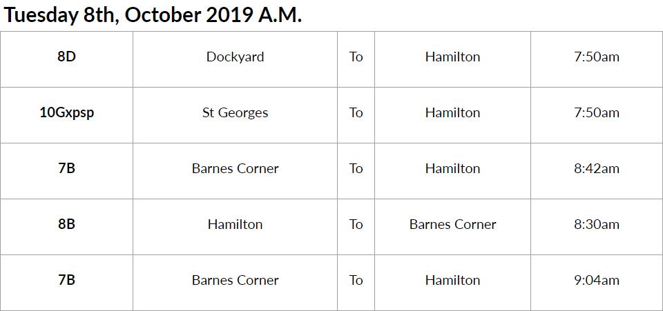 Bus Cancellations AM Bermuda Oct 8 2019