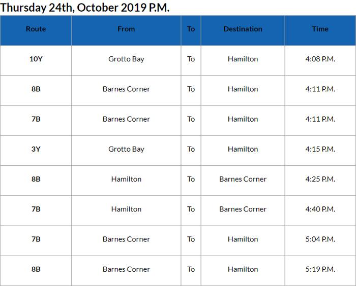 Bus cancellation PM Bermuda Oct 24 2019