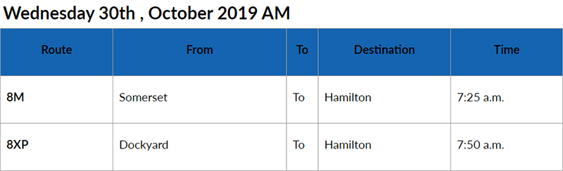 Bus cancellations AM Bermuda Oct 30 2019