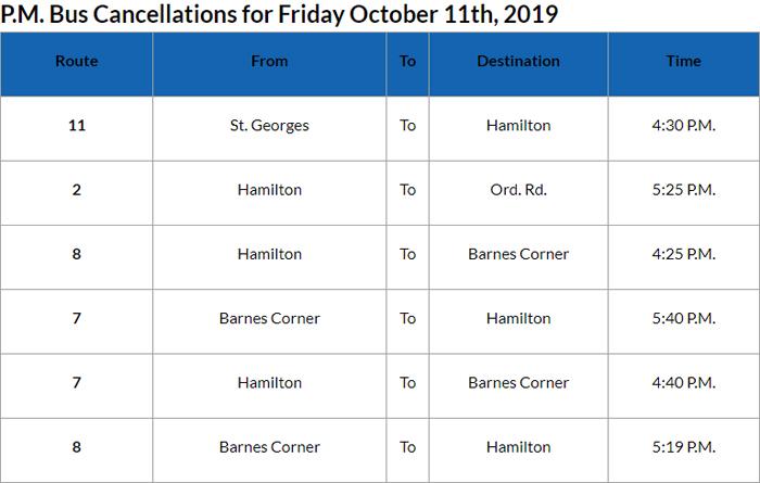 Bus cancellations PM Bermuda Oct 11 2019