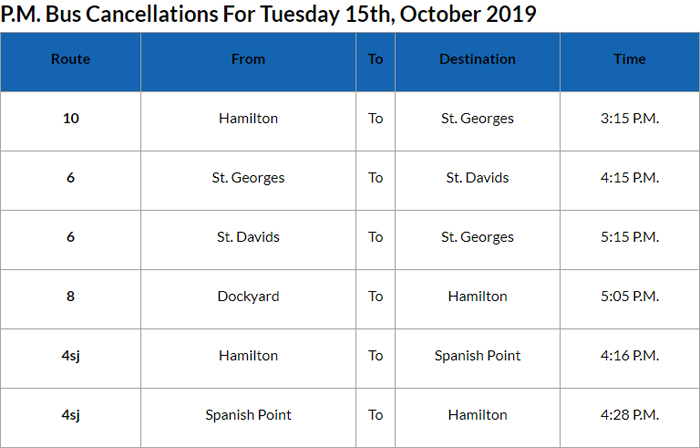 Bus cancellations PM Bermuda Oct 15 2019