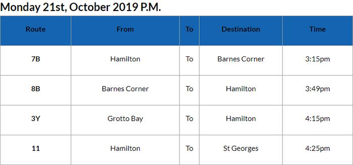 Bus cancellations PM Bermuda Oct 21 2019
