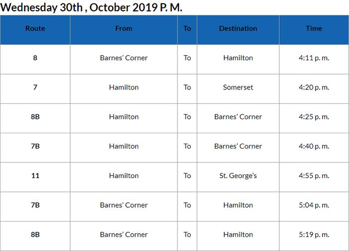Bus cancellations PM Bermuda Oct 30 2019