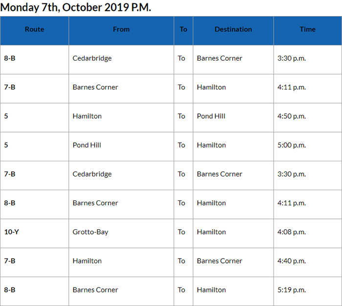 Bus cancellations PM Bermuda October 7 2019