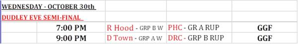 Dudley Eve Semi Finals Schedule Bermuda Oct 2019