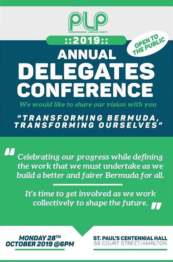 PLP Annual Delegates Conference Bermuda Oct 28 2019
