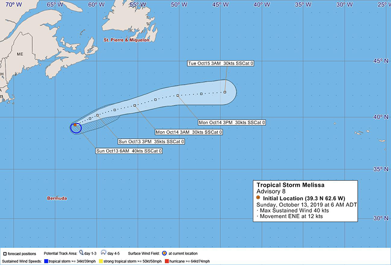 Tropical Storm Melissa Bermuda October 13 2019 BWS