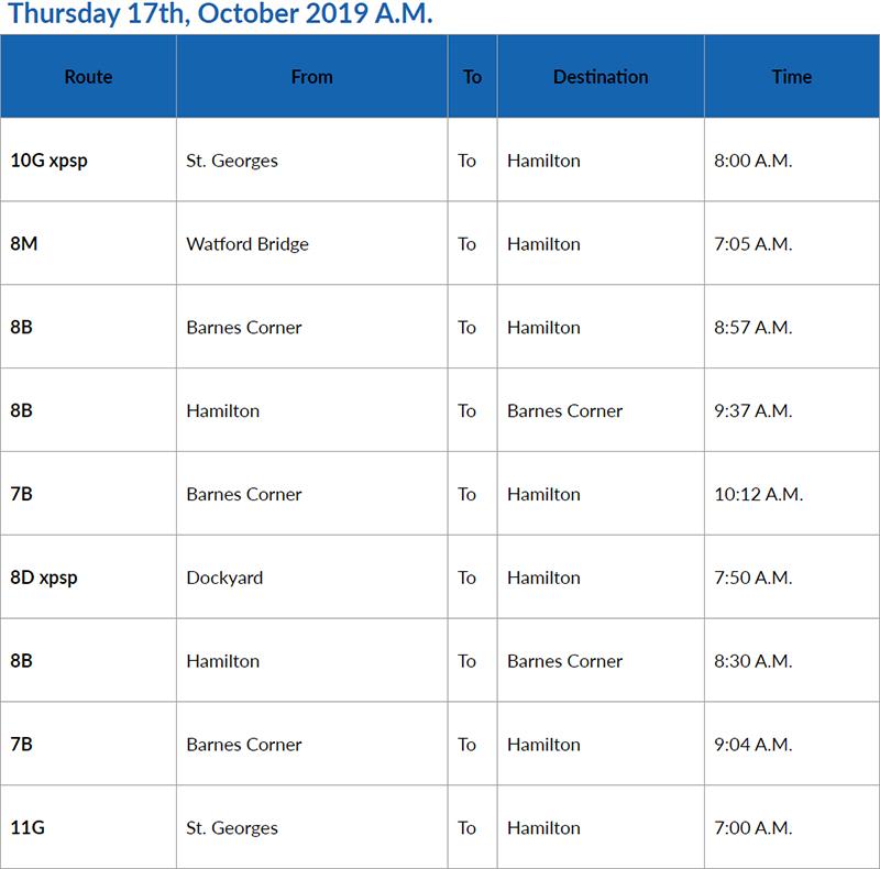 bus cancellations AM Bermuda Oct 17 2019