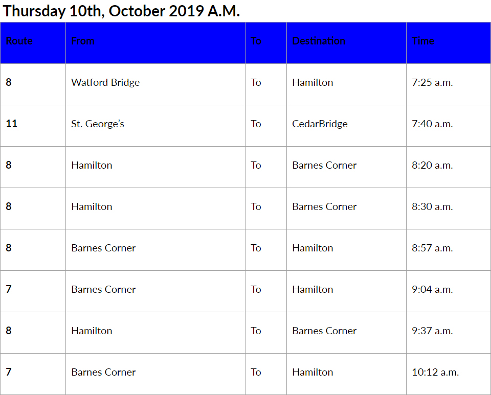 bus cancellations Bermuda AM Oct 10 2019