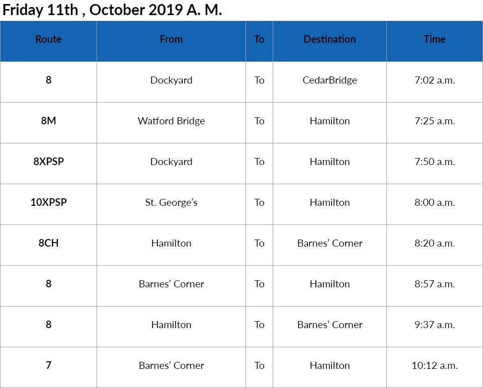 bus cancellations am Bermuda Oct 11 2019