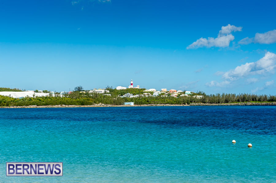 418 - One of Bermuda's least visited, but still beautiful beaches at Cooper's Island looking towards St David's lighthouse