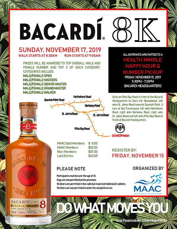 Bacardi 8K Road Race & Walk Bermuda Nov 2019