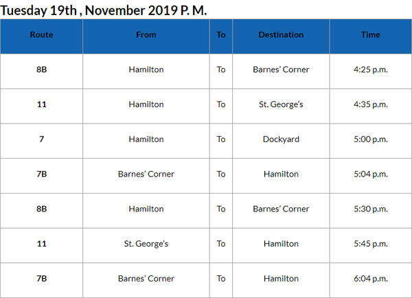 Bus Cancellation PM Bermuda Nov 19 2019