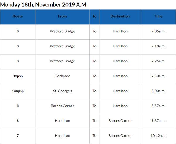 Bus Cancellations AM Bermuda Nov 18 2019