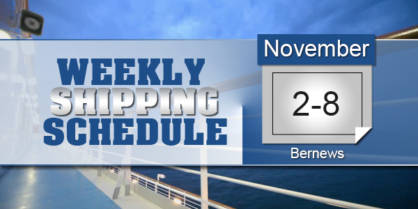 Weekly Shipping Schedule TC Nov 2 - 8 2019