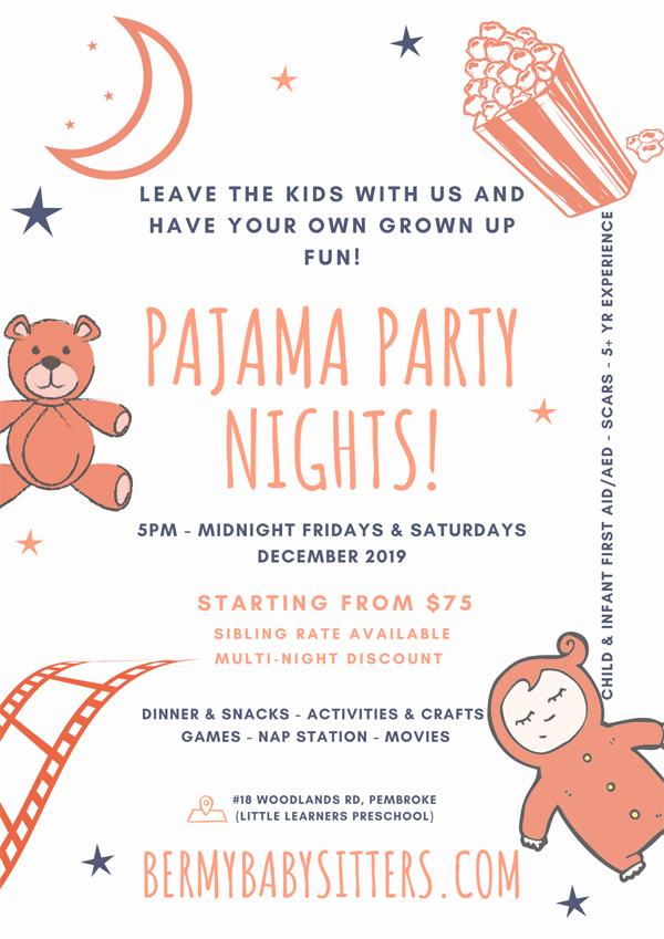 BermyBabysitters Pajama Party Nights Bermuda Dec 2019
