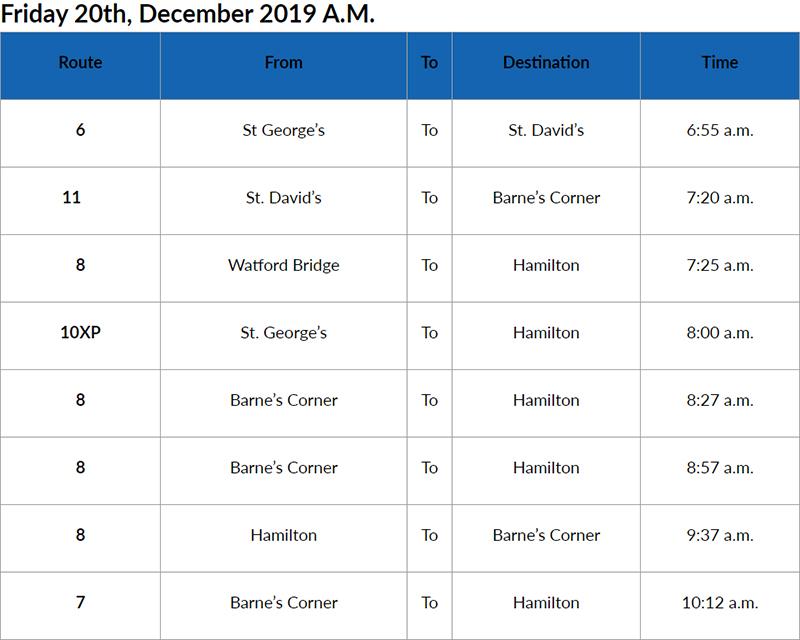 Bus Cancel AM Bermuda Dec 20 2019