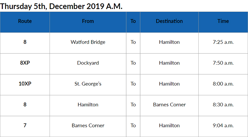 Bus Cancellations AM Bermuda Dec 5 2019