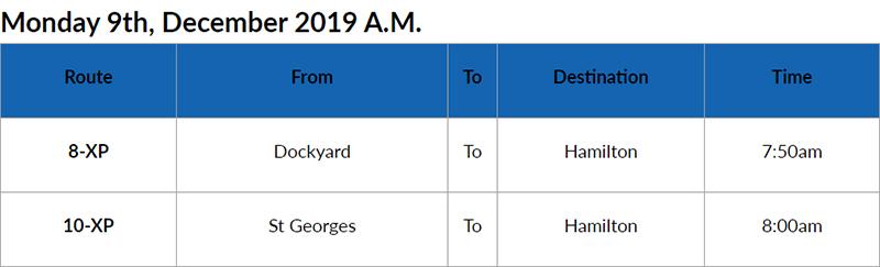 Bus Cancellations AM Bermuda Dec 9 2019