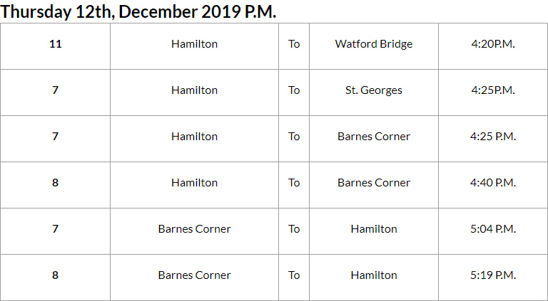 Bus Cancellations PM Bermuda Dec 12 2019