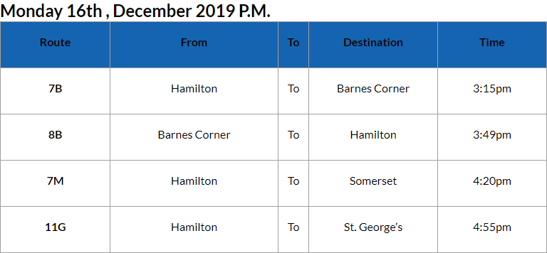 Bus Cancellations PM Bermuda Dec 16 2019