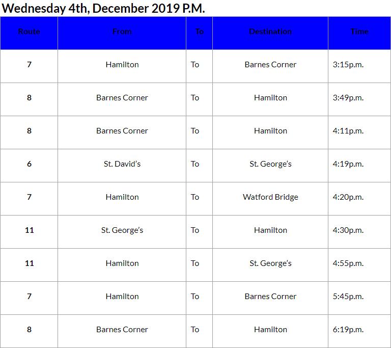 Bus Cancellations PM Bermuda Dec 4 2019