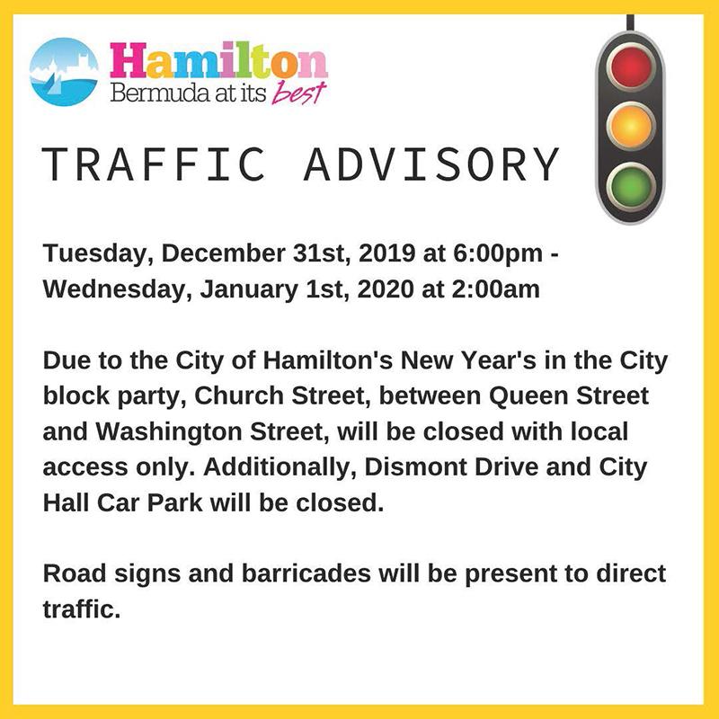 City Of Hamilton Traffic Advisory Bermuda Dec 2019