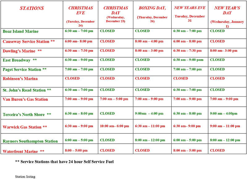 RUBiS Service Station Christmas Holiday Hours