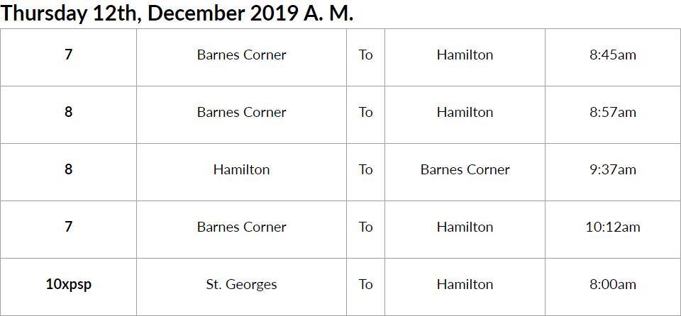 bus cancellations AM Bermuda Dec 12 2019