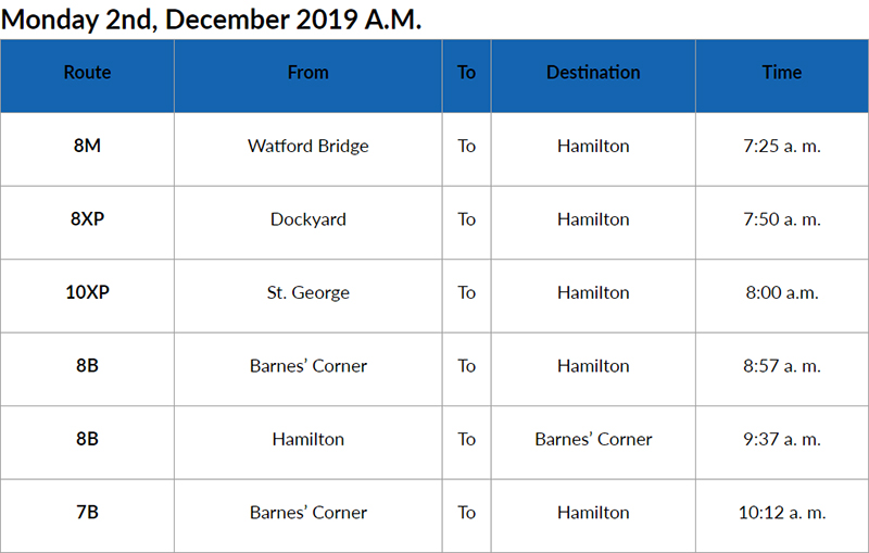 bus cancellations AM Bermuda Dec 2 2019