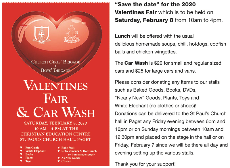 Bermuda Boys & Church Girls Brigade Valentines Fair Jan 2020