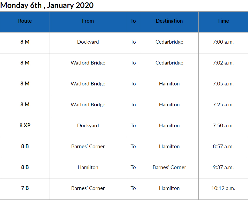 Bus Cancellations AM Bermuda Jan 6 2020