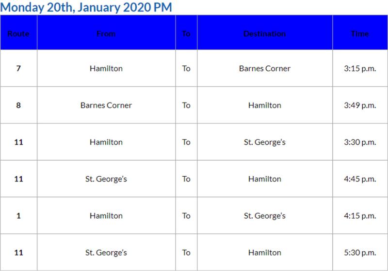 Bus Cancellations Bermuda Jan 20 2020