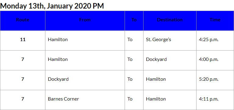 Bus Cancellations PM Bermuda Jan 13 2020