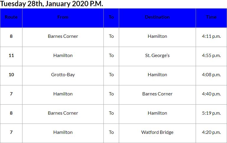 Bus Cancellations PM Bermuda Jan 28 2020