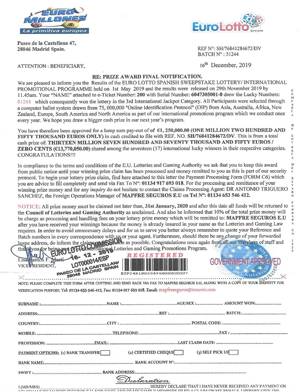 Euro Lotto Scam Letter Bermuda Jan 13 2020