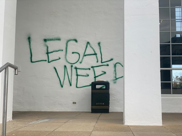 Graffiti Sprayed At Hamilton City Hall Bermuda Jan 2020