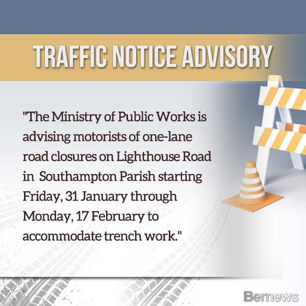 Traffic Advisory Bermuda January 2020