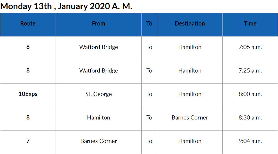 bus cancellations AM Bermuda Jan 13 2020